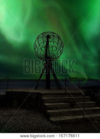 Northern lights over the North Cape the northernmost point of Europe Norway