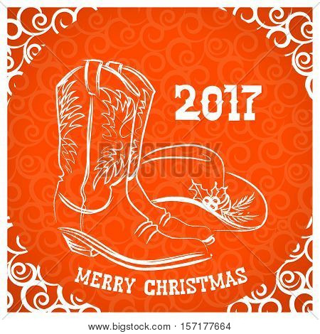 Cowboy Merry Christmas With Cowboy Boots And Western Hat Decoration