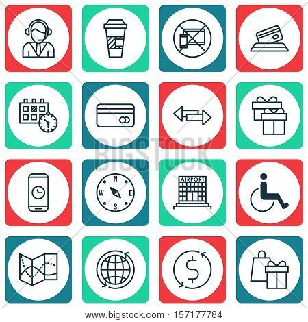Set Of Transportation Icons On Airport Construction, Locate And Crossroad Topics. Editable Vector Il
