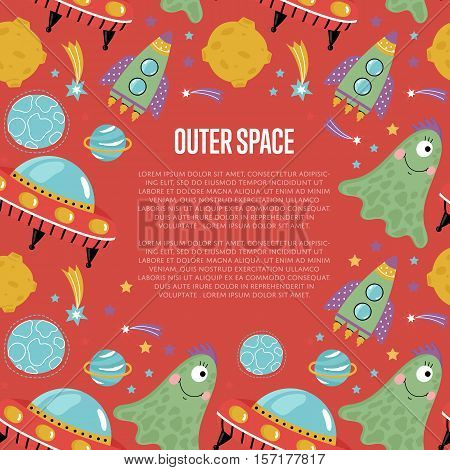 Outer space cartoon web page template. Cute jelly alien, flying saucer, spaceship, star, planet, comet, moon vector illustrations on red background. For planetarium, astronomical club, childrens cafe