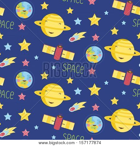 Space objects cartoon seamless pattern. Smiling Saturn and Earth planets, comet, colorful stars, satellite telescope vector illustrations on blue background. For wrapper, greeting card, invitation