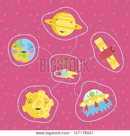 Space objects in cartoon style. Smiling Saturn, Earth, Moon, alien in flying saucer, comet, satellite vector icons isolated on pink background set. Astronomic concept for childrens book illustrating