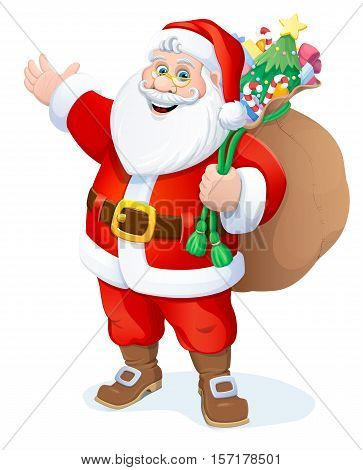 Christmas. Santa Claus with a bag of gifts. Vector illustration.