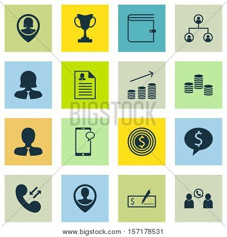 Set Of Management Icons On Phone Conference, Cellular Data And Money Topics. Editable Vector Illustr