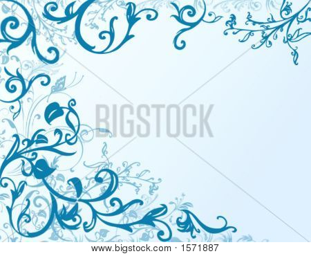 Floral Frame In Blue