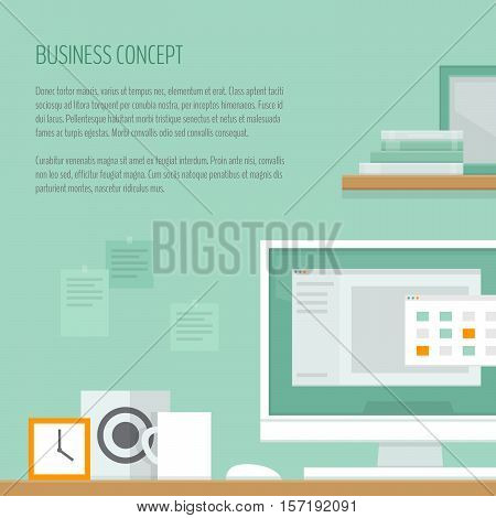 Workplace freelancer with desk computer shelves and equipment. Workspace concept. Home office. Work room modern interior. Flat design style vector illustration.