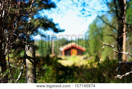 Norway distant farm house in woods background hd
