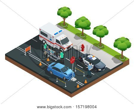 Isometric road accident composition with car bumped into traffic sign and injured driver on emergency stretcher