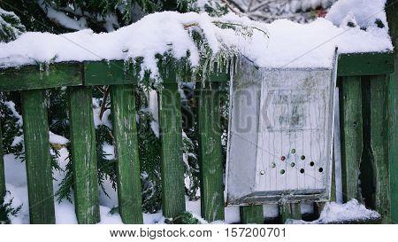 Mailbox, Letter Box, Metal Letter Box, White Snow