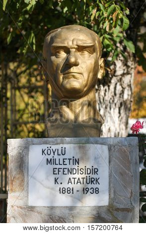 Monument to the first president of Turkey - Ataturk, who founder Turkish Republic.