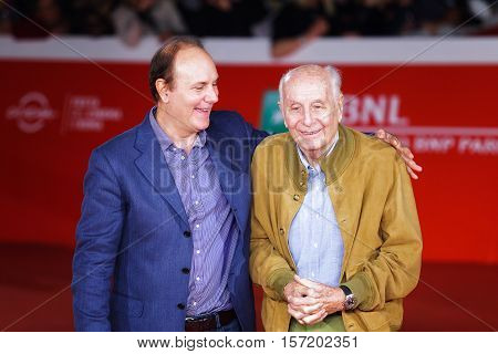 Rome Italy - October 16 2016: Folco Quilici and Brando Quilici (L) walk a red carpet for 'The Rolling Stone Ole Ole Ole!: A trip Across Latin America' during the 11th Rome Film Festival at Auditorium Parco Della Musica