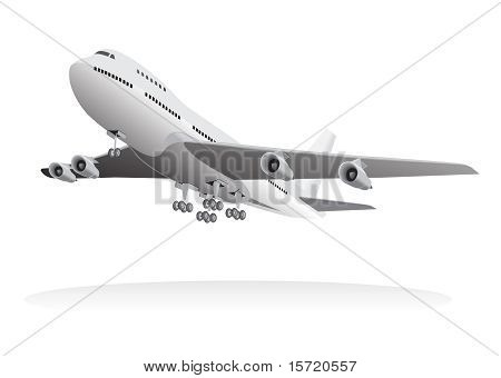 jumbo jet leaving ground vector