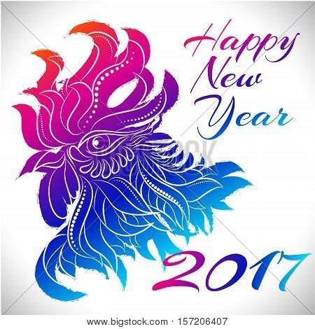 NewYear bird symbol of 2017 year, Head of Rooster - Chinese bird zodiac animal sign, vector illustration.Blue Rooster oriental bird - Chinese zodiac year symbol of 2017, chinese NewYear celebration.