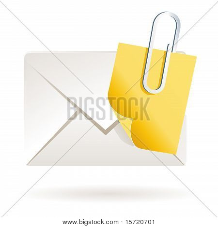 mail letter with post it