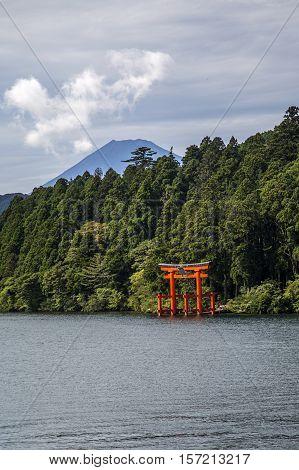 The red torii in Lake Ashi Hakone, Japan