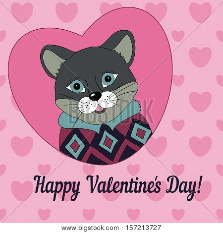 Cougar in the pink jersey. Picture for clothes cards covers. Happy Valentine's Day!