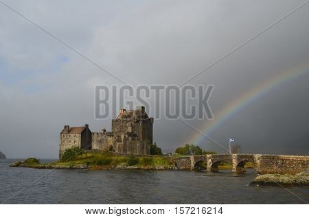 Storm over the skies of Eilean Donan Castle in Scotland.