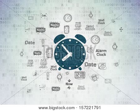 Time concept: Painted blue Alarm Clock icon on Digital Data Paper background with  Hand Drawing Time Icons