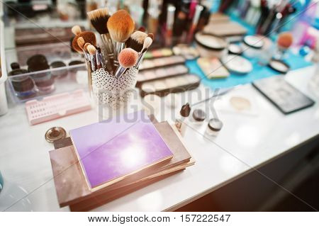 Colourfull Make Up Palette And Set Of Brushes For Makeup At  Beauty Salon