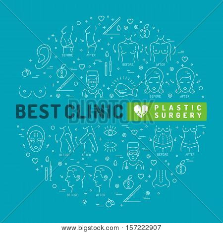 Plastic Surgery linear icons. Infographics medical flat symbols, Designed for medical clinics. Medicine graphic design, Vector circle colorful template. Medical palette of blue and turquoise colors