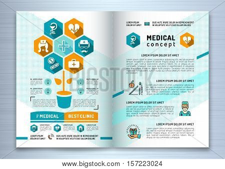 Design medical brochure template A4 size. Linear flat infographics, medical palette of blue, turquoise and orange colors. Business concept Health and Beauty, Vector illustration