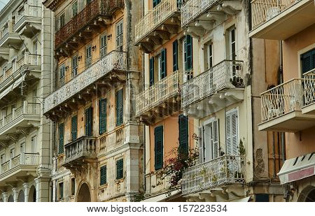 Facade of the building in the town of Corfu Greece