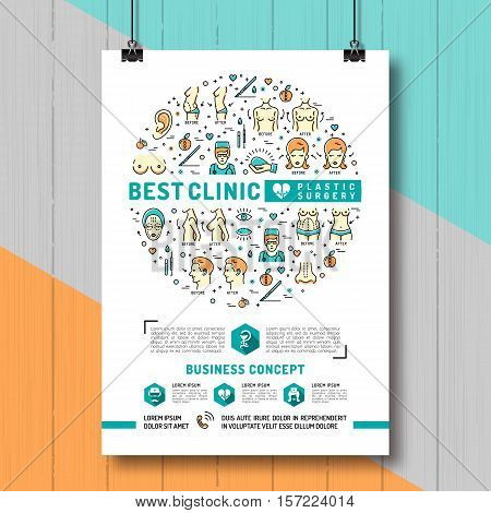 Poster Plastic Surgery. Medical linear icons: breast augmentation, liposuction, face and body cosmetology. Colorful thin line symbols of Medicine and Health, Vector illustration
