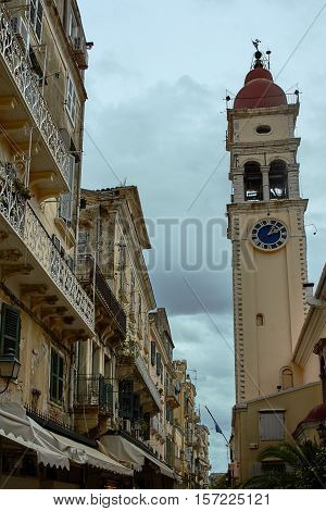 Tower of the church of Agios Spiridon in Corfu Greece