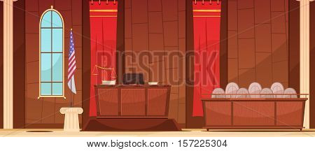 American court of law judicial legal proceedings in courthouse with flag  and jury box retro poster vector illustration