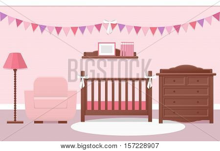 Baby room interior with white cot and changing table for girl in flat style. Modern pink nursery design. Vector illustration.