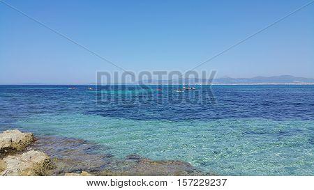 Beautiful sea views with boats and Palma de Mallorca on the horizon Majorca Balearic Islands Spain