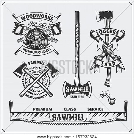 Vector set of vintage Lumberjack labels and emblems. Axes and saws.