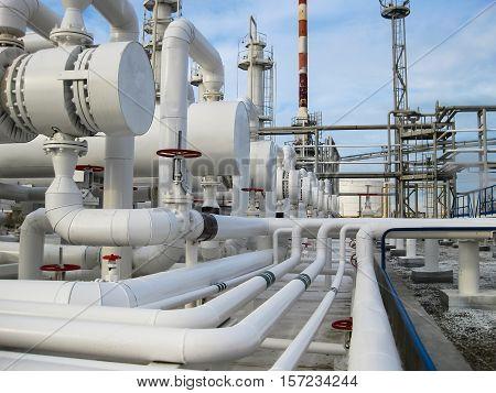 Heat Exchangers In Refineries. The Equipment For Oil Refining. Heat Exchanger For Flammable Liquids.