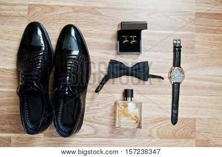 Set Of Trendy Men's Clothes And Accesories. Set Groom Bow Ties, Shoes, Cufflinks, Watches And Perfum