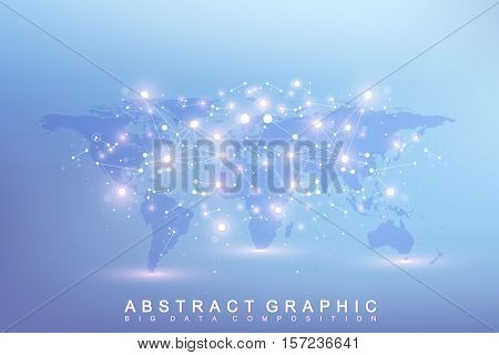 Graphic abstract background communication. Big data complex with compounds. Perspective backdrop with World Map. Minimal array Big data. Digital data visualization. Scientific vector illustration