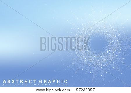 Graphic abstract background communication. Big data complex with compounds. Perspective backdrop. Minimal array Big data. Digital data visualization. Scientific vector illustration.