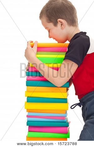 School Kid Holds A Stack Of Books