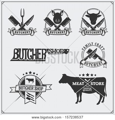 Vector meat labels. Butcher's business emblems. Silhouettes of farm animals.
