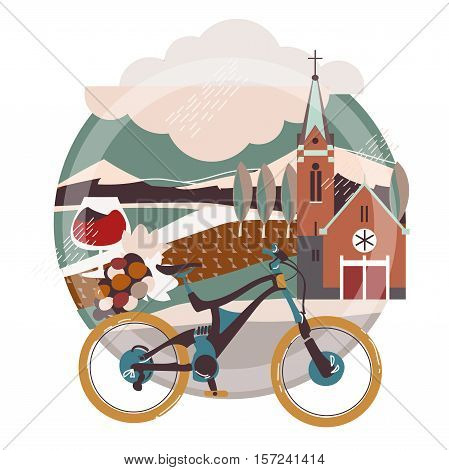 Flat illustration of downhill bicycle in europe town, France, Germany.