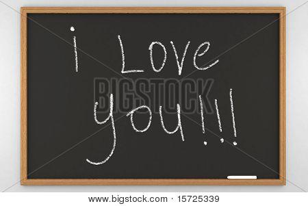 i love you... photorealistic 3d rendered BlackBoard