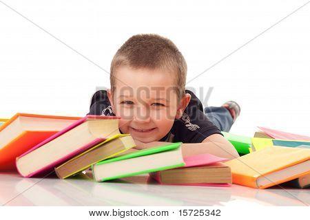 Preschooler With Pile Of Books