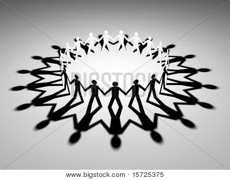 Mystical circle.  figures holding hands together in a circle