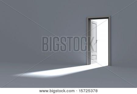 Dentro de uma sala com a porta aberta