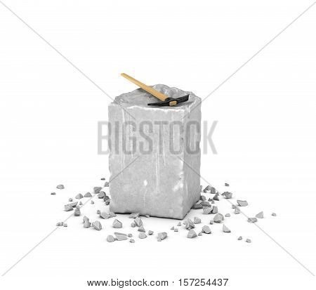 3d rendering of a big rectangular block of gray rock, its chips and a pick isolated on the white background. Mineral extraction. Traditional mining and equipment. Stone carving.