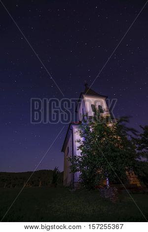 Church In Clear, Starry Night With Ursa Maior - Big Bear And Polaris - North Star
