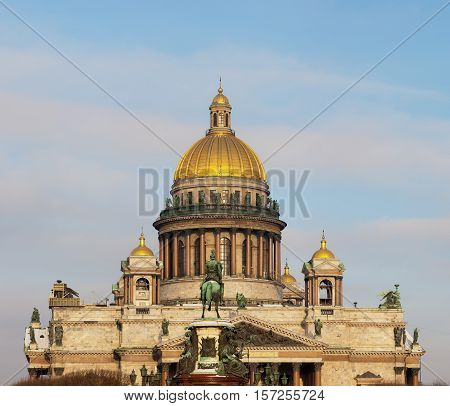 St. Isaac's Cathedral on a sunny day in Sankt-Peterburg