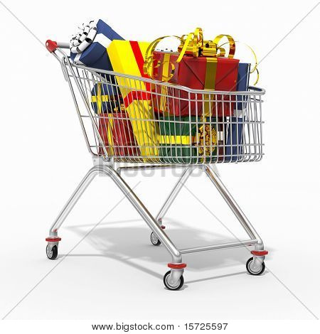 Photorealistic 3D shopping cart filled by gift isolated on white background.