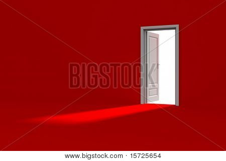 Inside a red room with opened door