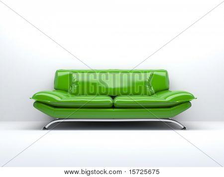 sofá verde aislado en blanco fondo 3d
