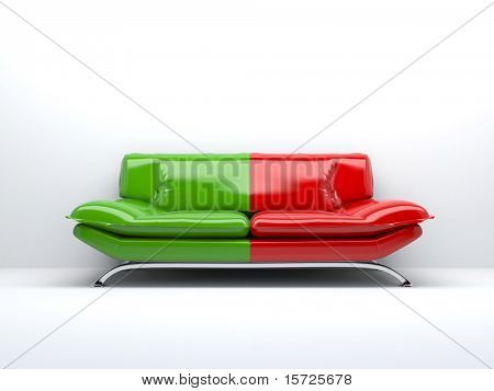 sofá rojo y verde concepto aislado en blanco fondo 3d